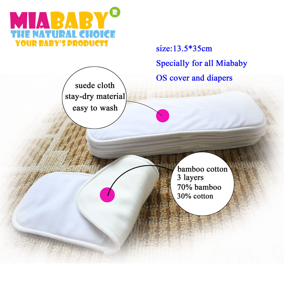 5PCS/LOT Miababy Bamboo Cotton Inserts 4 Layers, 3 LAYERS OF BAMBOO PLUS ONE LAYER OF SUEDE CLOTH
