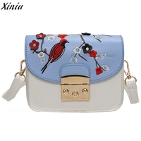 Women Handbag Bird Embroidery Vintage Shoulder Tote Bag Girl Floral Pattern Messenger Bag Bolsos De Mujer