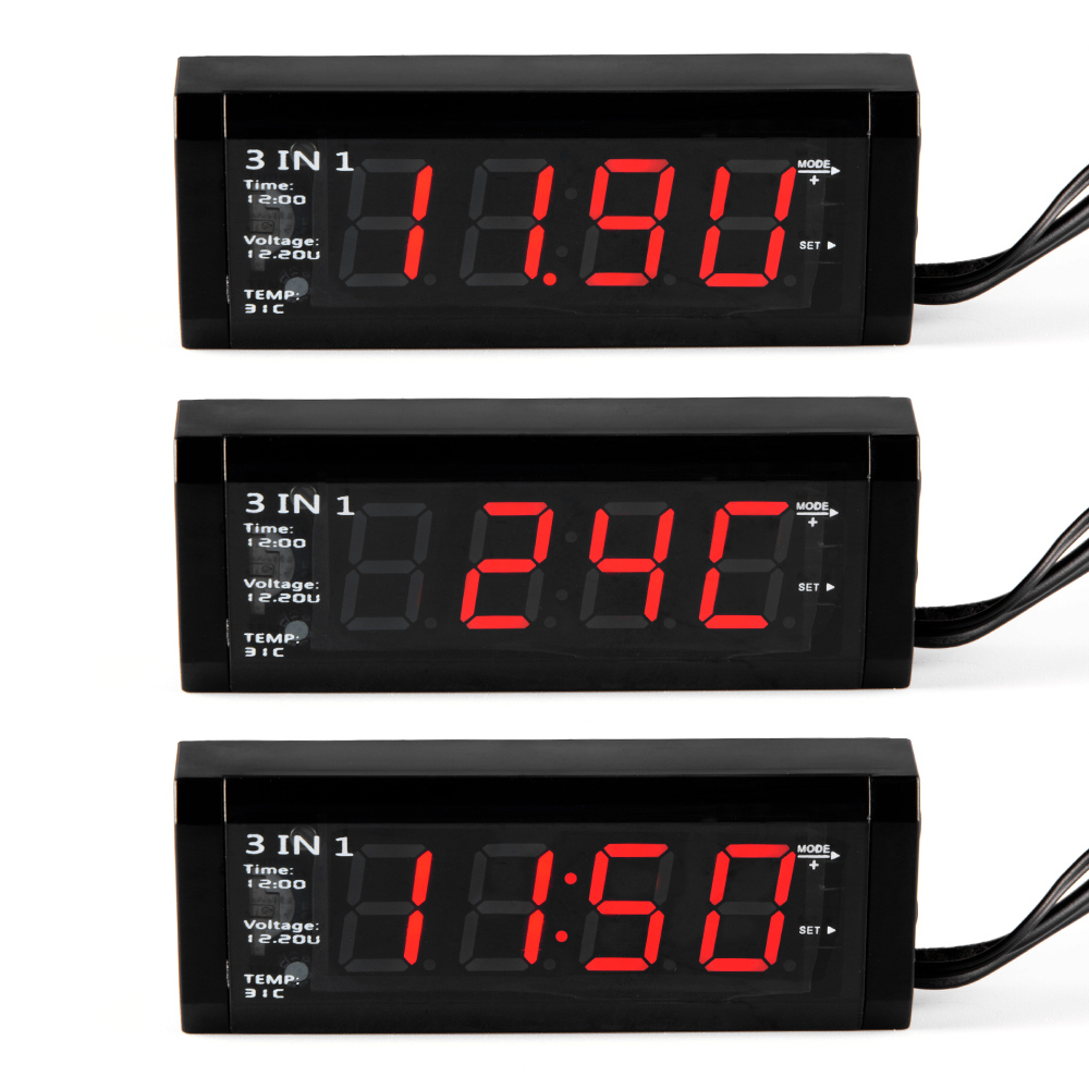 Car 3 in 1 Digital Auto Car Thermometer + Car Voltmeter Voltage Meter Tester Monitor + LCD Display Clock Hot Selling CY697-CN 24 hour digital clock yellow led display car clock digital meter panel meter adjustable clock dc 12v 24v diy time monitor tester