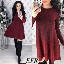 New Spring Fashion A-line Solid Dress O-neck Golden flash Long sleeve Casual Party Mini Dresses Cute Vestidos Plus size