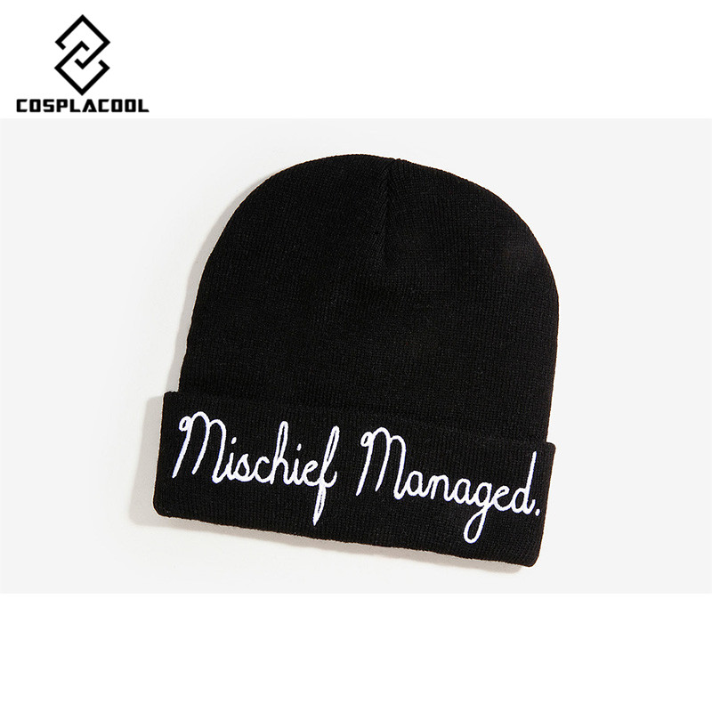 [COSPLACOOL]knitted Letter Skullies Bonnet winter Fleece beanies hat for men women  hats Warm Baggy skullies