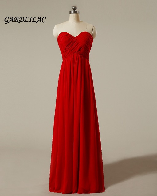 25221d787b 2018 New Strapless Red Chiffon Bridesmaid Dresses Plus Size Wedding Party Gown  Maid of Honor Long Prom Dress