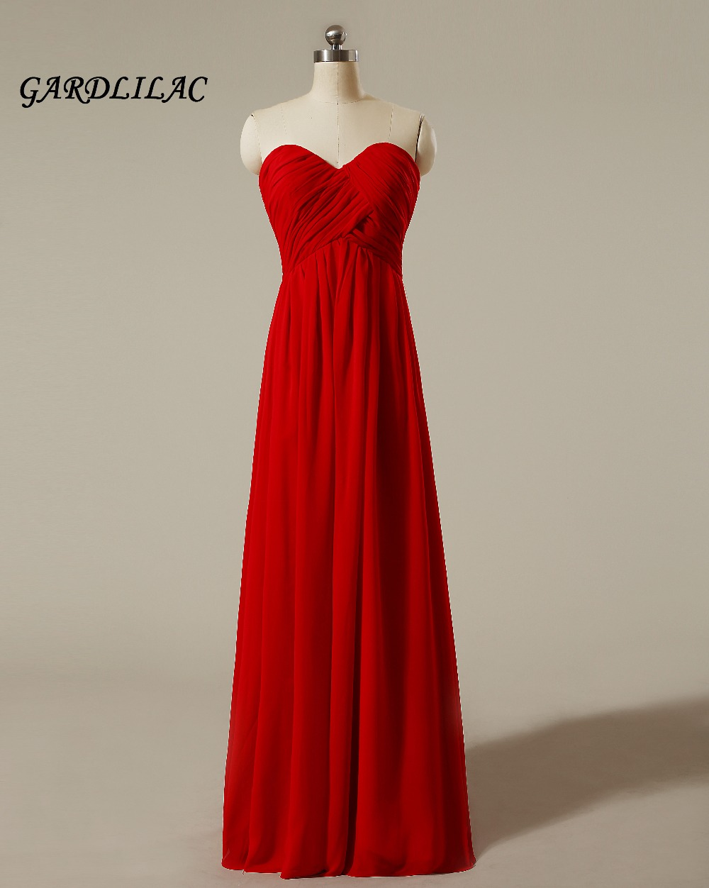 2018 New Strapless Red Chiffon   Bridesmaid     Dresses   Plus Size Wedding Party Gown Maid of Honor Long Prom   Dress