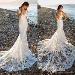 Великолепные красивые кружевные цветы Русалка Свадебные платья Лето Boho 2019 Сексуальная спинки на заказ