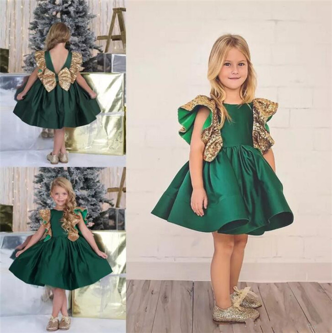 Emerald Green Little Girls Birthday Dress Knee Length Flower Girls Dresses Gold Sequined Bow Custom Made Size