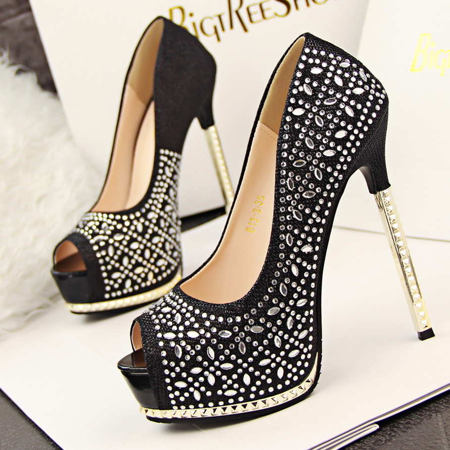 0f97324d2d4 Glitter rhinestone diamond pink silver wedding shoes sexy high heels  platform open toe 6 colors size 34 to 39-in Women s Pumps from Shoes on  Aliexpress.com ...