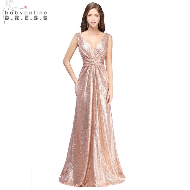 6f3e6c367f Babyonline Sexy escote en V profundo brillante oro rosa lentejuelas vestidos  de noche largo de 2019