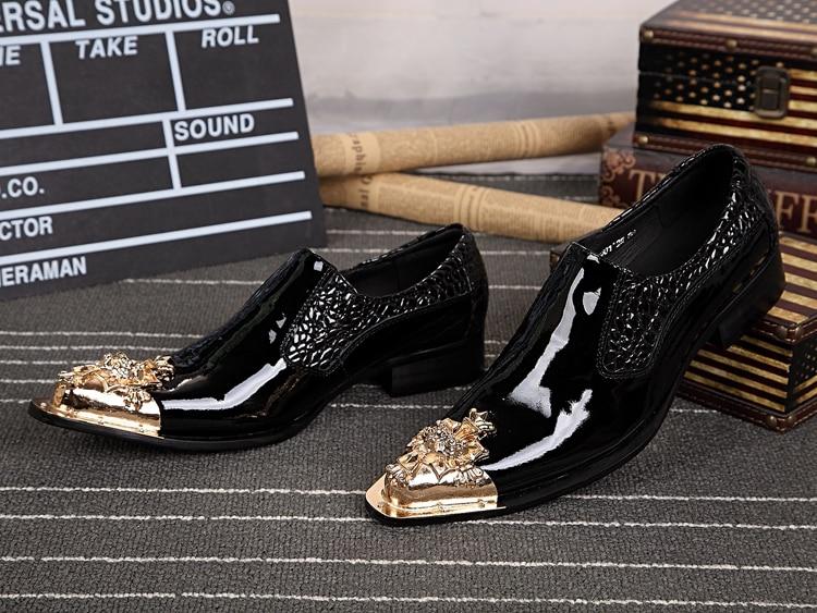 Black Skulls Designs Leather Formal Men Shoes Gold Metal Toe Men ... 296728100825