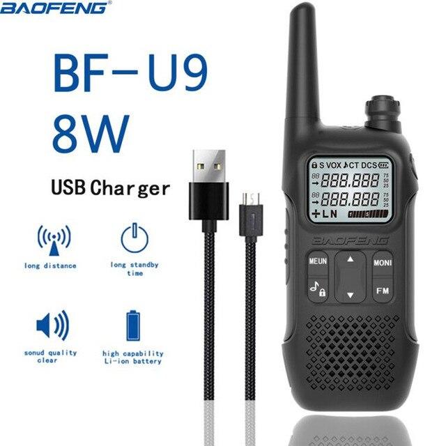 1 ADET BAOFENG BF U9 8W Taşınabilir mini telsiz El Otel Sivil Radyo Comunicacion Ham HF Telsiz