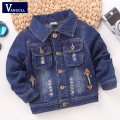 2016 autumn and winter fashion children's coat boy washing hole stereoscopic dual labeling denim jacket pocket