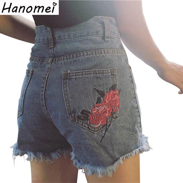 Nuevo Bordado de La Manera de Rose de Las Mujeres Pantalones Cortos de Verano 2017 de Cintura Alta Pantalones Vaqueros Cortos Delgados Rasgados Pantalones Cortos de Mezclilla Azul Para Las Mujeres C368