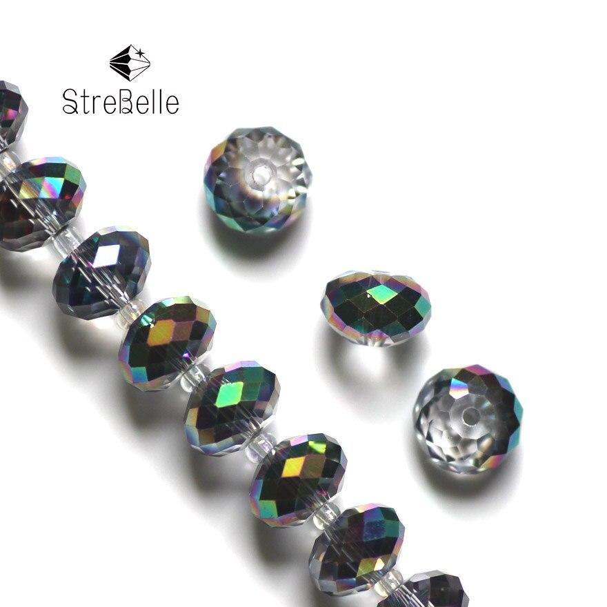 72b16f52bdec1 Esferas Da Árvore de natal 2017 Moda Chapeamento Verde Rondelle de Cristal  Do Grânulo Vertentes jóias beads 4x6mm 6x8mm 8x10mm