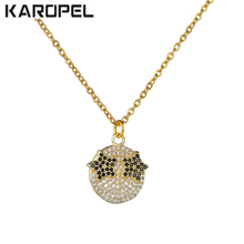 Fashion New Arrive Funny Face Smiley Necklace With Zircon Crystal Jewelry Zirconia Micro Pendant