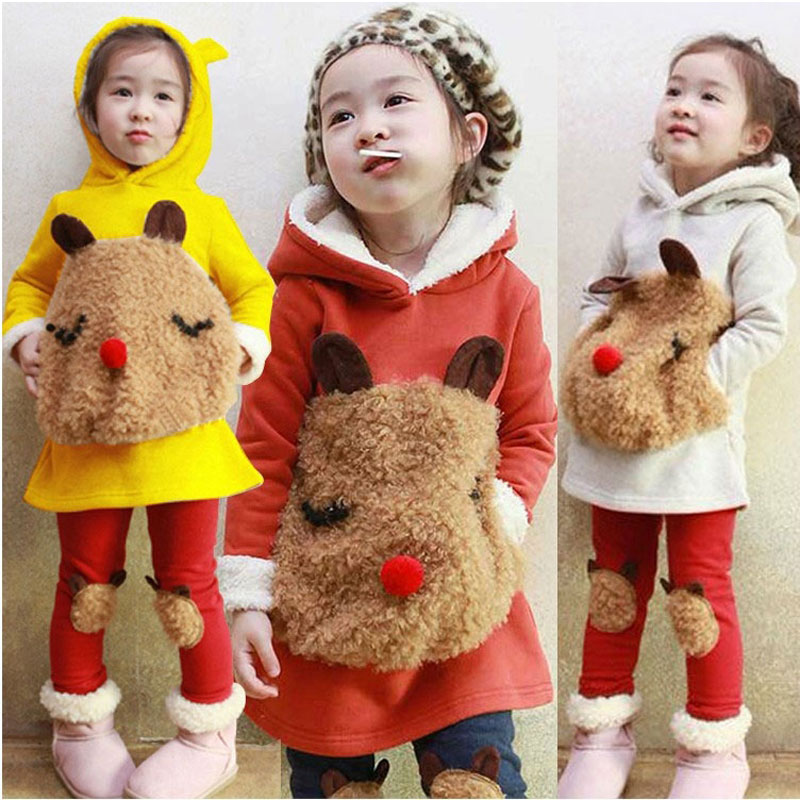 Kids Girl Cartoon Cotton Fleece Clothing Set Newborn Thick Warm Autumn Clothes Suit Hooded Jacket+Pant Children's Girl Cloth Set he hello enjoy baby girl clothes sets autumn winter long sleeved cartoon thick warm jacket skirt pants 2pcs suit baby clothing