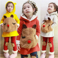 Kids Girl Cartoon Cotton Fleece Clothing Set Newborn Thick Warm Autumn Clothes Suit Hooded Jacket+Pant Children's Girl Cloth Set
