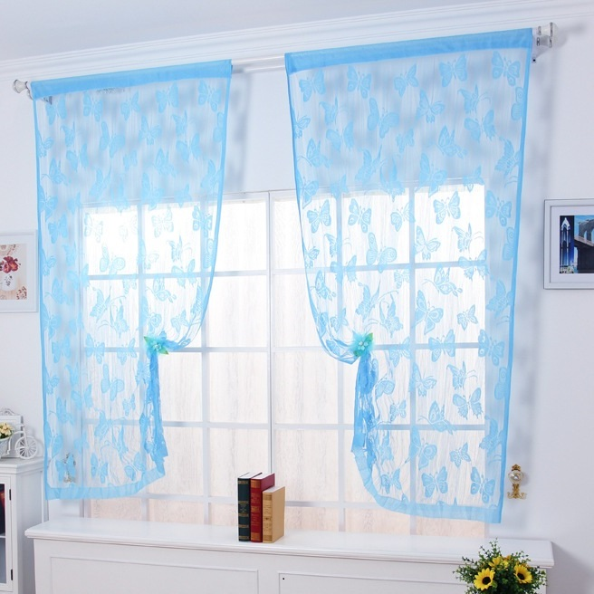 Butterfly string sheer curtains drapes for living room for Cortina mosquitera puerta