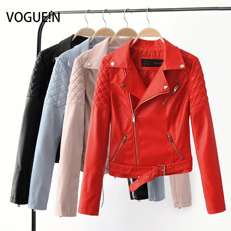 VOGUE!N New Womens Sexy Soft Faux   Leather   Slim Motorcycle Zipper Jacket Lapel Short Coat Outerwear 4 Colors