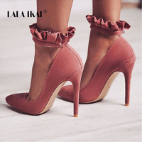 LALA IKAI Heels Pointed Toe Women Pumps Ruffles 12 CM Sexy High Heels Buckle Strap Party Shoes Wedding Shoes 014C1867 49
