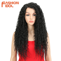 FASHION IDOL Wigs For Black Women Kinky Curly Hair 26 Synthetic Lace Front Wig Glueless Heat Resistant Fiber With Hair Lace Wig