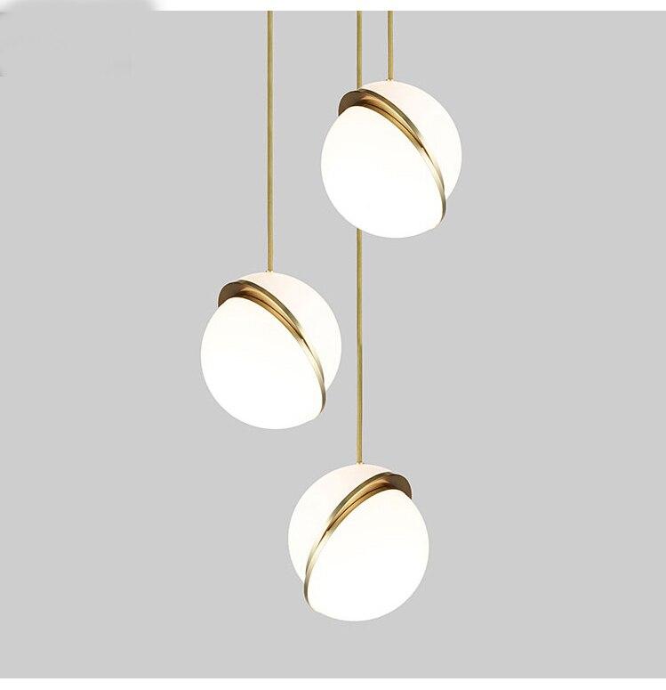 Скандинавский современный стеклянный шар, светодиодный подвесной светильник с пузырьками, Золотое кольцо, Подвесная лампа для кухни, гости