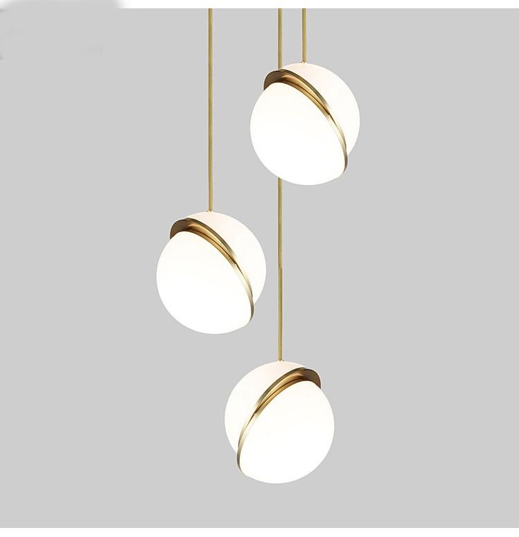 Bola bolha conduziu a luz pingente de vidro moderno nórdico anel de ouro cozinha sala de estar quarto restaurante lâmpada pendurada