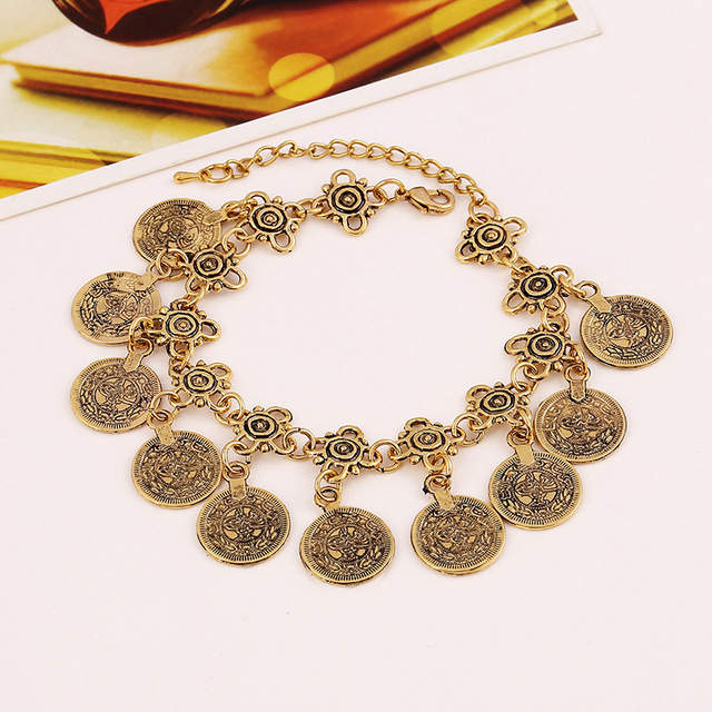 boho coin bracelet antic Gold silver charm bracelet bohemian statement women jewelry