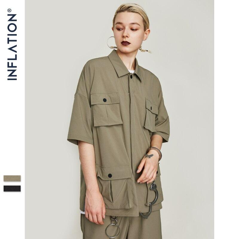 Image 2 - INFLATION Multi pocket Casual Shirt Oversize Short Sleeve Shirt  Mens Dress Shirts Brand Casual Fashion Hip hop Style Shirt 9212SCasual  Shirts