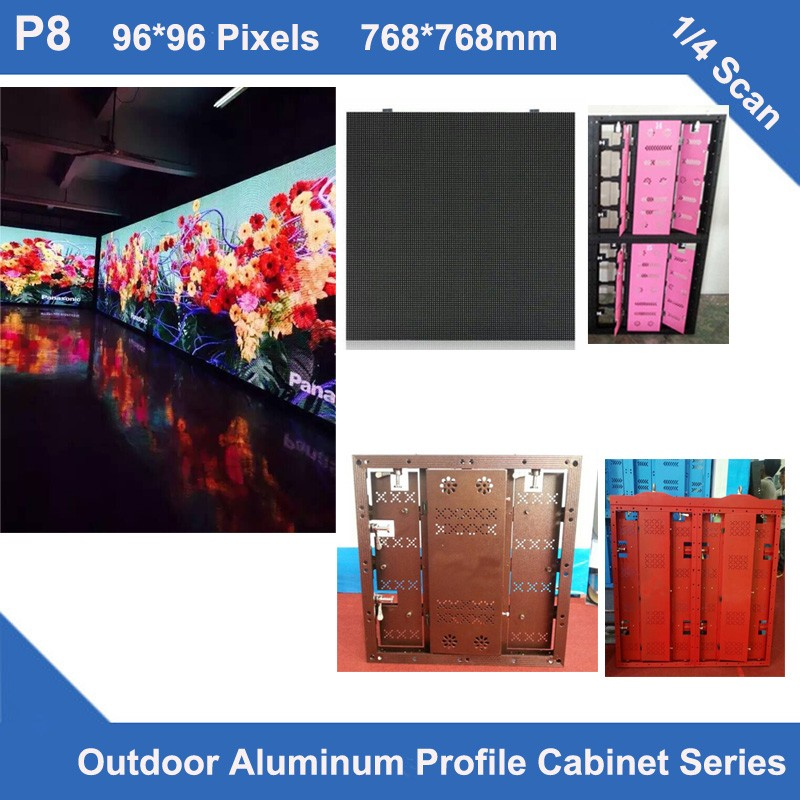 TEEHO 6pcs/lot Outdoor P8 SMD Full Color Led Display Aluminum Profile Cabinet PANEL 768*768mm 96*96dots Rental LED Panel Screen