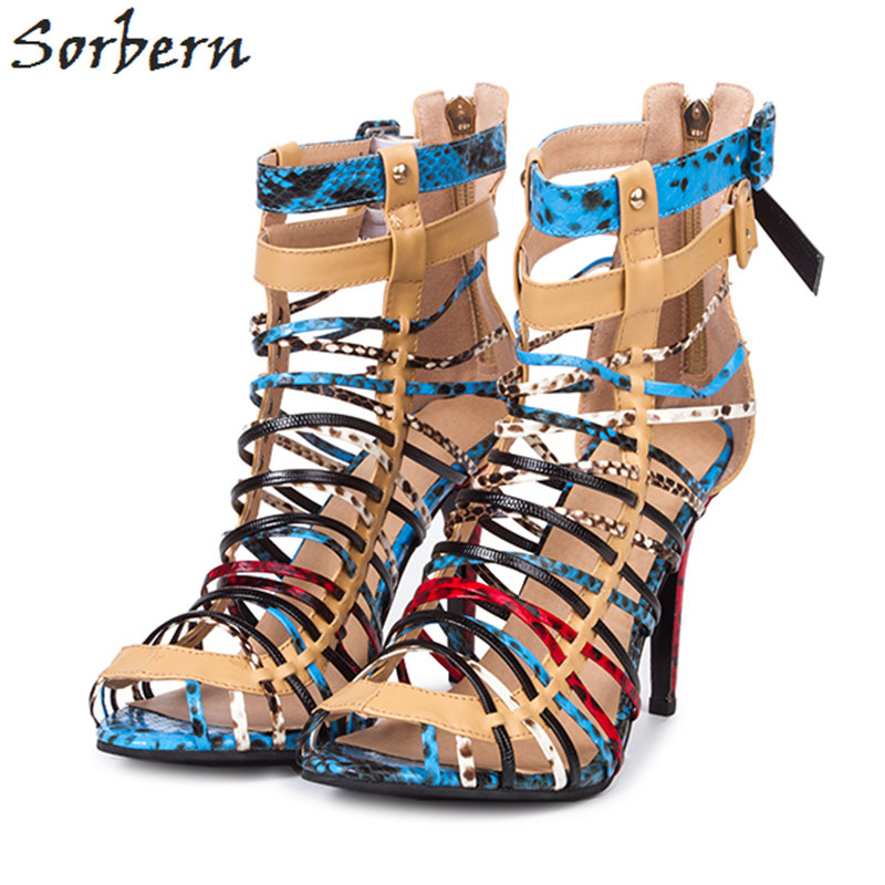 Sorbern Colorful Women Summer Sandals Shoes 2018 High Heels Spring Sandals For Women High Heels Ankle Strap Sandals Shoes women sandals fashion low heels sandals for summer shoes woman ankle strap flats sandals shoes soft bottom casual shoes 35 44