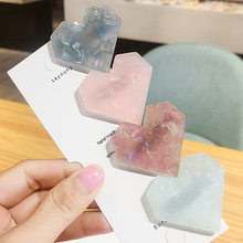 1pcs Fashion Heart Shape Resin Hair Clips for Women Hairpins Shiny Shell Hairgrip Accessories Gift