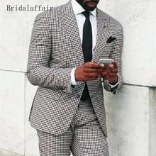 Bridalaffair Brand Style Suits Men Black White Floral Pattern Men Suit Slim Fit Groom Tuxedo 2 Piece Custom Prom Blazer Pants