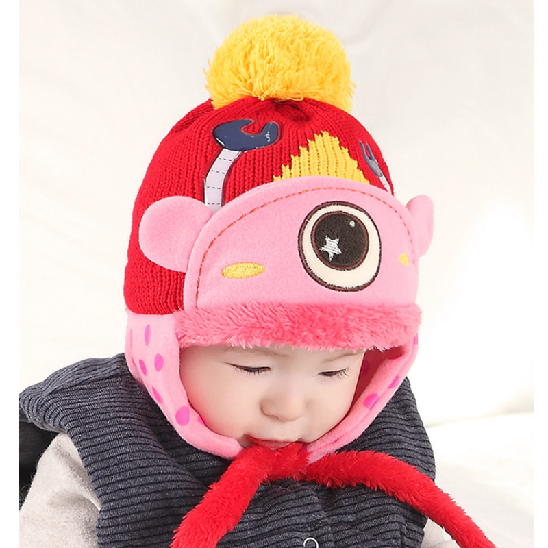 2016 Children Winter ear muff hat crochet baby hat for Girls Boys photography props costume Large Eye Wool Cap Knitted baby caps