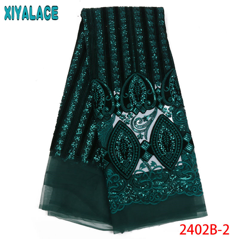 Green Sequins Velvet Nigerian French Lace Fabrics Embroidered Mesh Lace Fabrics Dresses For African Weddings & Events QF2402B-2Green Sequins Velvet Nigerian French Lace Fabrics Embroidered Mesh Lace Fabrics Dresses For African Weddings & Events QF2402B-2