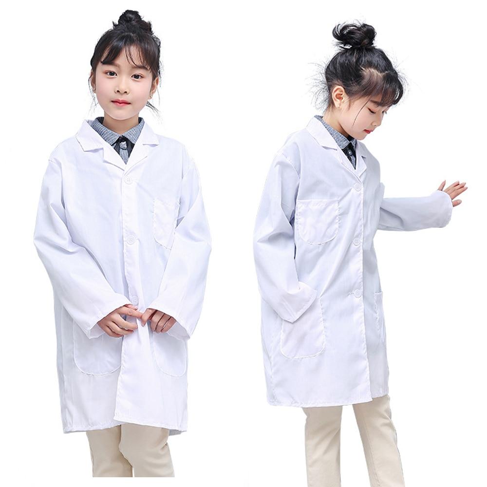 Boys Girls White Lab Coat Children Cotton Long Sleeve Pockets Lab Medical Uniform Doctor Nurse Clothing Breathable Summer Unisex
