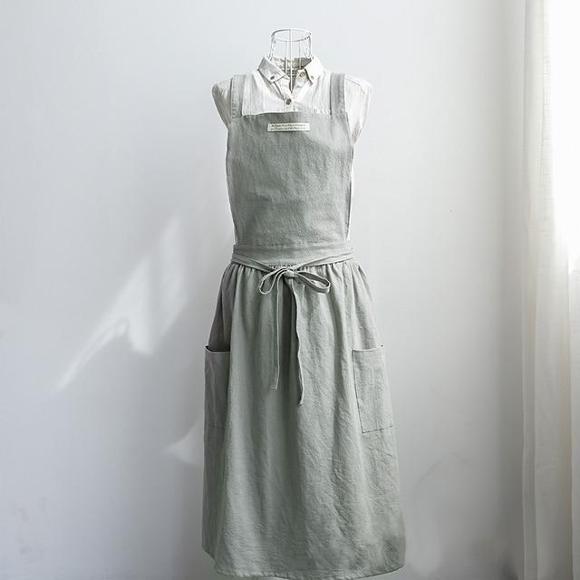 fab8d6bfa3 Women Bib Aprons Cotton Linen Solid Sleeveless Pinafore Dress Home Florist  Soft