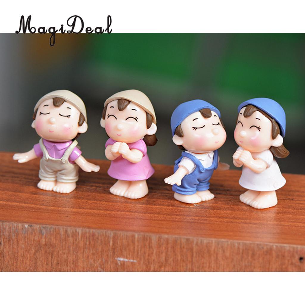 MagiDeal 2Pcs/Lot Smiling Couples Miniature Fairy Garden Bonsai Landscape Home Decor Party Favors Gifts