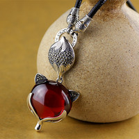 S925 silver jewelry folk style red pomegranate pendant Pendant Charm fox paragraph sweater