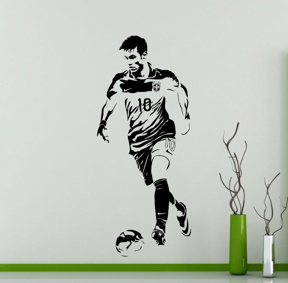 Neymar Wall Decal Handsome Soccer Star Stickers For Kids Rooms Vinilos Decoratiovs Modern Design Drop Shopping Art Mural SYY455