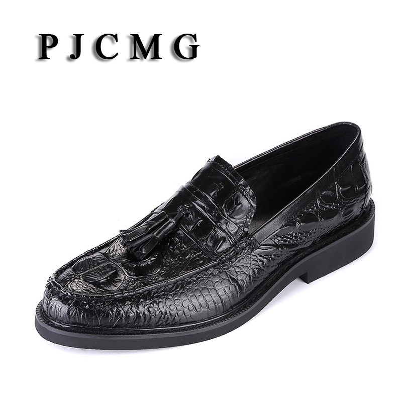 PJCMG Fashion Spring Autumn Crocodile Pattern Slip On Pointed Toe Formal Genuine Leather Flat Man Dress