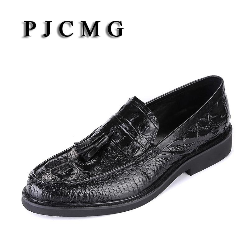 PJCMG Moda Primavera Autunno Del Modello Del Coccodrillo Slip-On scarpe A  Punta Formali f0a9aafbdd0
