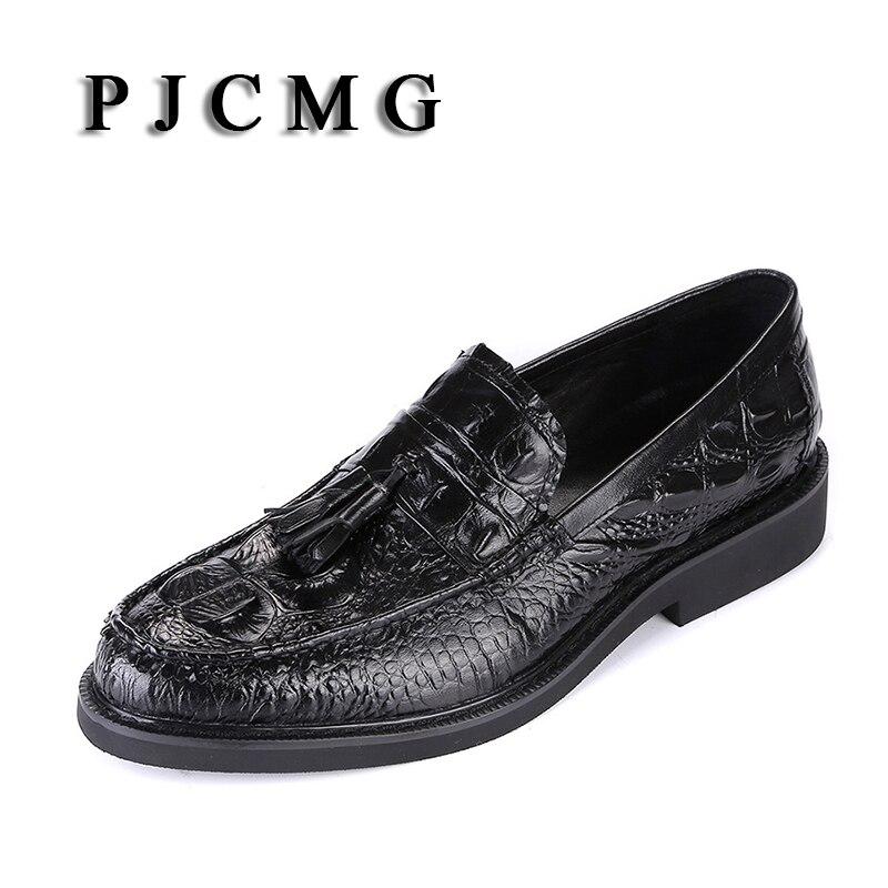 Pjcmg أزياء الربيع/الخريف نمط تمساح زلة اشار تو الرسمية جلد طبيعي مسطحة والاحذية الرجل مع شرابة-في أحذية رسمية من أحذية على  مجموعة 1