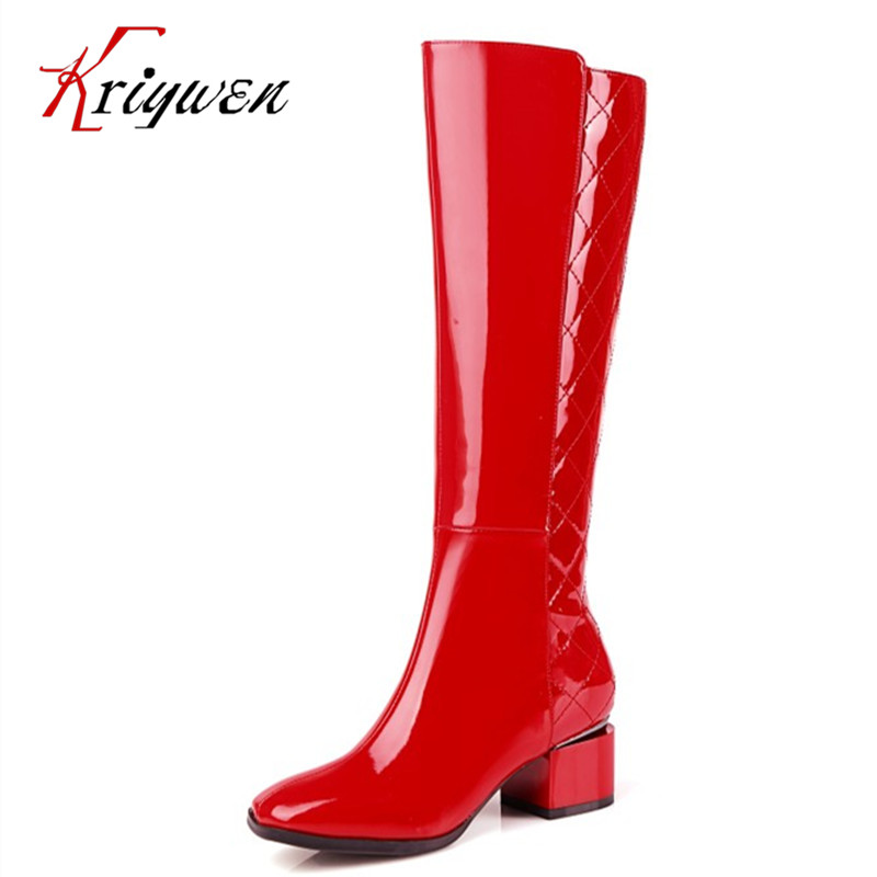 Sexy Lady Fashion Woman Shoes riding motorcycle boots big size 34-43 genuine cowhide leather Women square toe Knee High Boots rubber cement euro winter shoes woman sleeve side zip chains riding genuine leather boots women solid color cowhide flat with