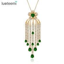 LUOTEEMI Brand Bohemia Design Luxury Bridal Tassel Flower Big Pendant With Chains Necklaces For Women Wedding