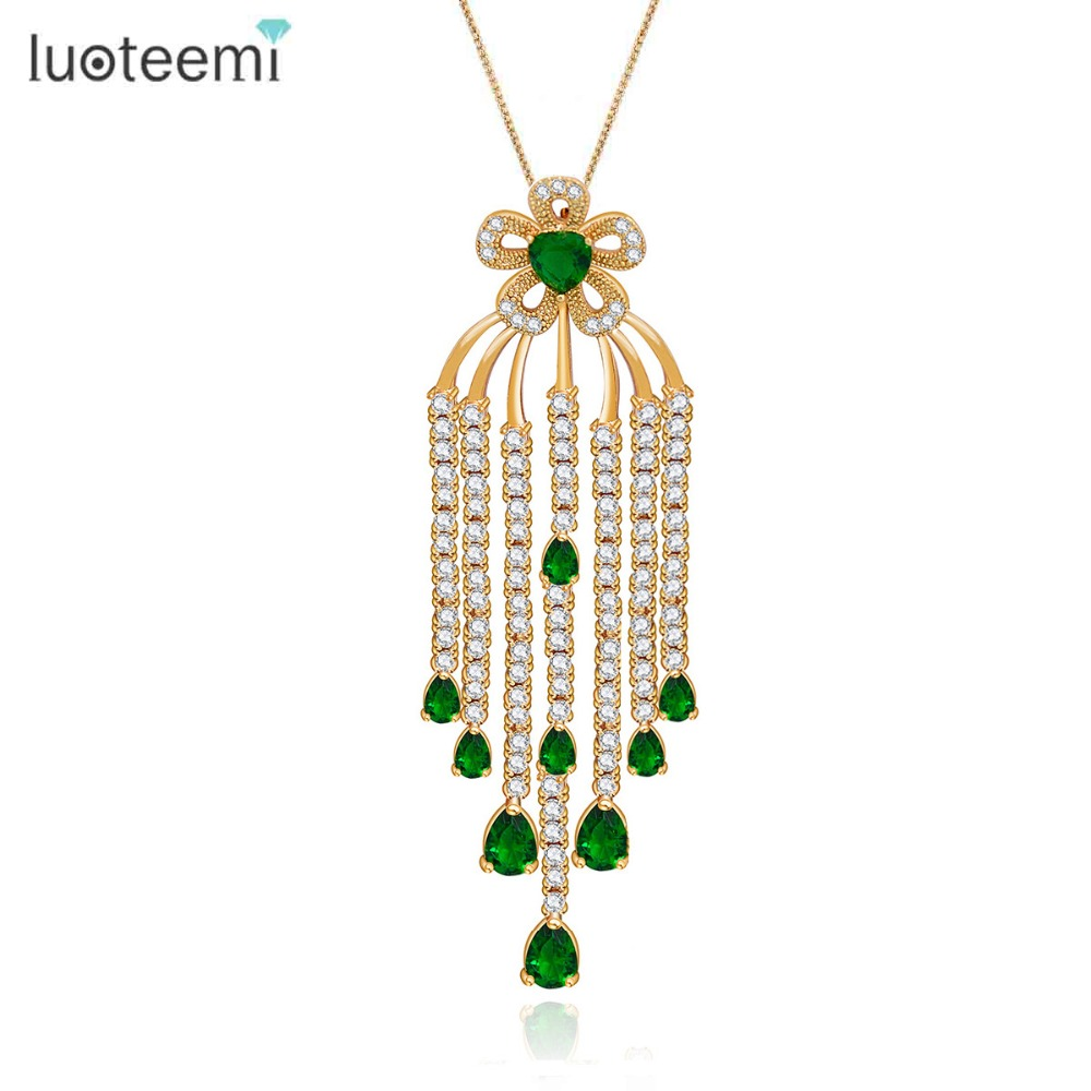 LUOTEEMI Brand Bohemia Design Luxury Bridal Tassel Flower Big font b Pendant b font With Chains