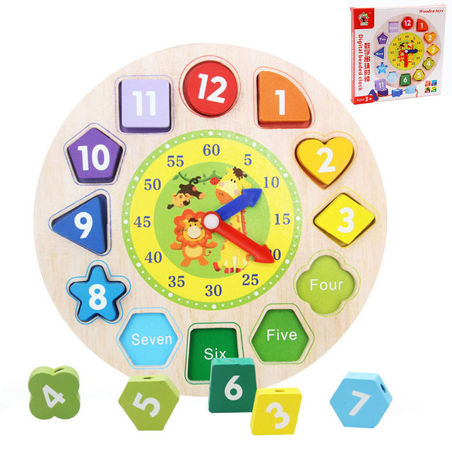 New Shape Pairing Cognitive Numbers Bead Clock Children Knowing Time Learning Education Funny Baby Toys Wooden Colorful Clock