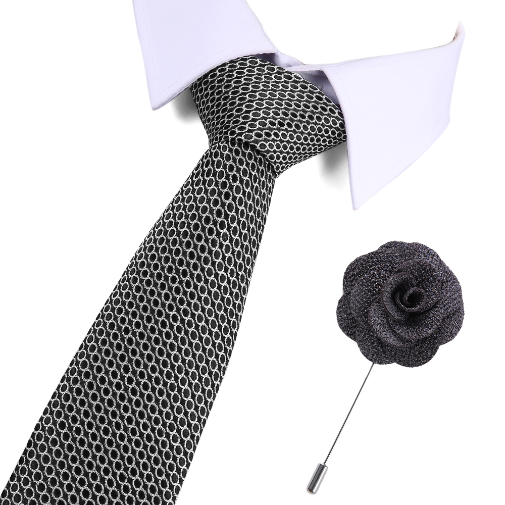 New Jacquard Woven Neck Tie For Men Classic Check Ties Fashion Silk Mens Necktie For Wedding Business Suit Plaid Tie amp Pin set in Men 39 s Ties amp Handkerchiefs from Apparel Accessories