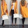 2017 Новая мода стильный женщин рукавов V шеи orange цвет долго тонкий дизайн Жилет пальто/куртка женщин