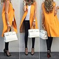 2017 New fashion stylish women's sleeveless V neck orange color long design slim Vest coat/jacket female