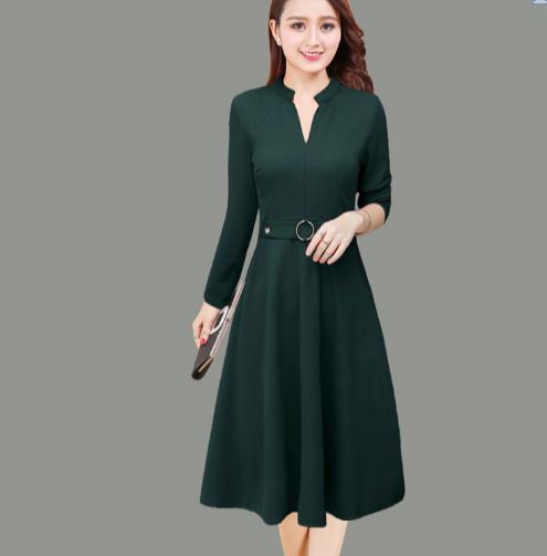 Elegant Long Dress Women 2018 Autumn  Plus Size Midi Dress Black Red Green Long Sleeve V Neck Slim Ladies Dresses E58 Одежда
