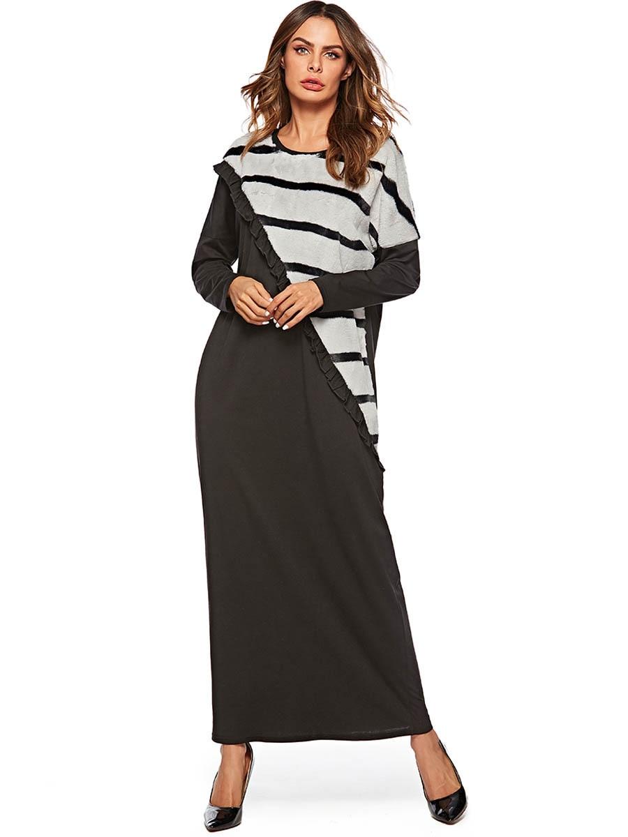 Casual Faux Fur Abaya Stripe Maxi Dress Thicken Warm Kimono Long Robe Gowns Muslim Jubah Ramadan Middle East Islamic Clothing